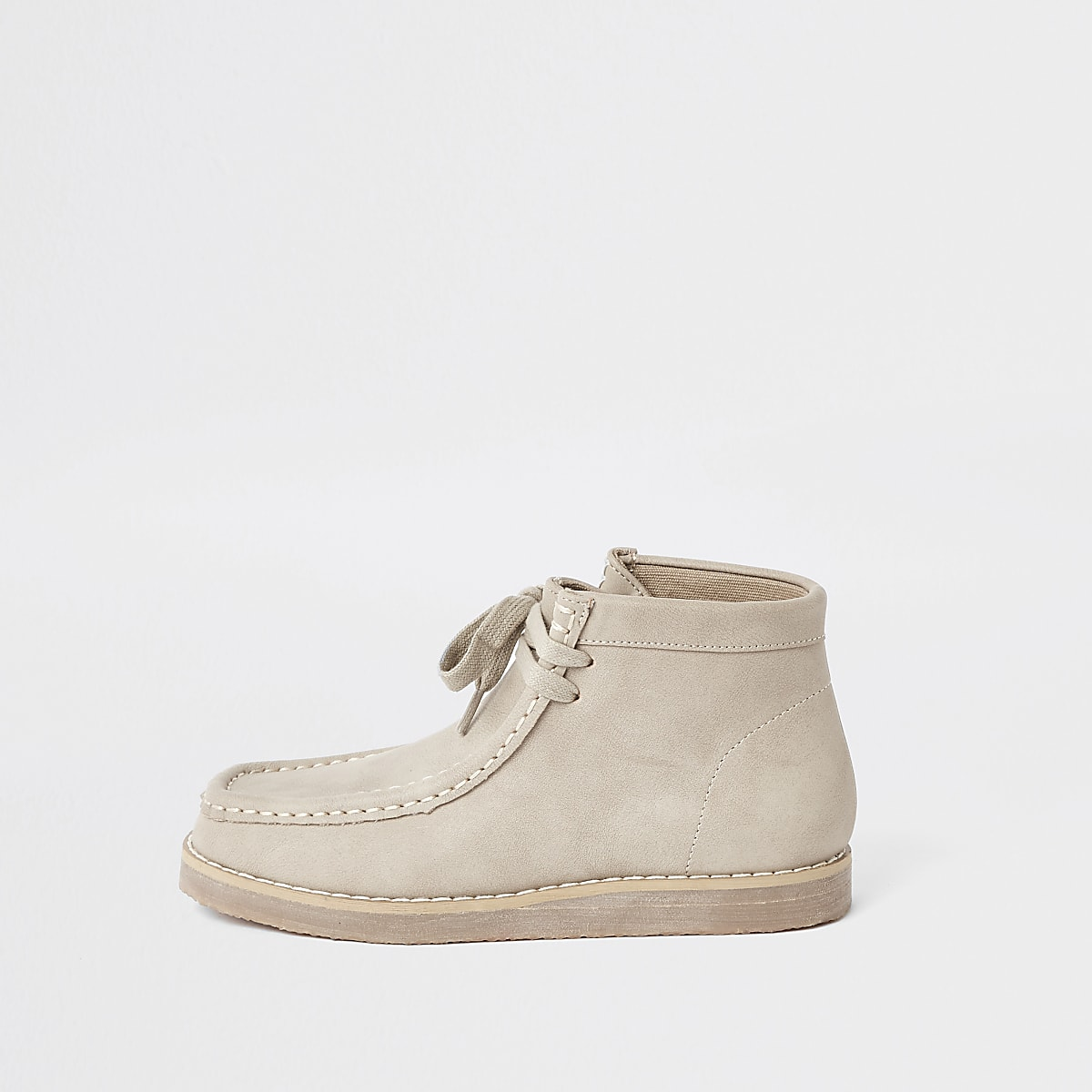 Boys beige lace up crepe boots
