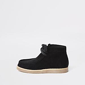 Zwarte crêpe laarzen met veters voor jongens