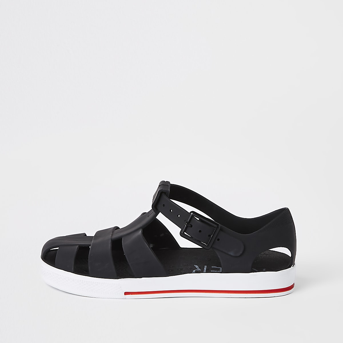 Boys black jelly cage sandals
