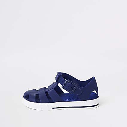 Mini boys navy jelly sandals