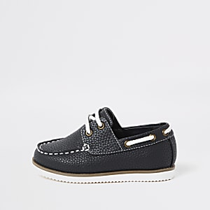 Mini boys navy textured lace-up boat shoes