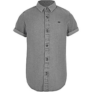 Boys grey wasp embroidered denim shirt