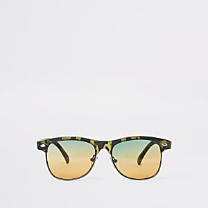 Kaki platte zonnebril met camouflageprint voor jongens
