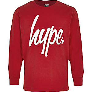Boys red Hype Logo tape sweatshirt