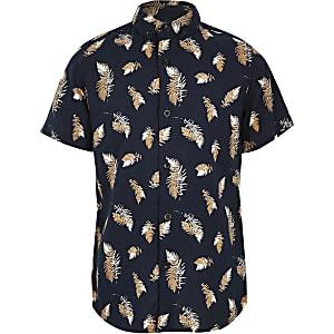 Marineblauw overhemd met verenprint voor jongens