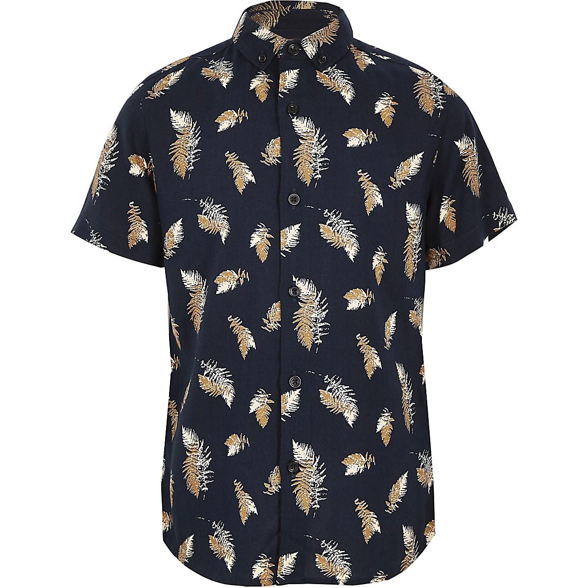 Marineblaues Hemd mit Print