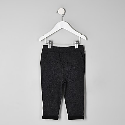 Mini boys grey textured joggers