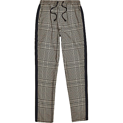 Boys brown check tape side trousers