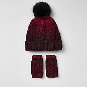 Mini boys red ombre faux fur beanie hat set