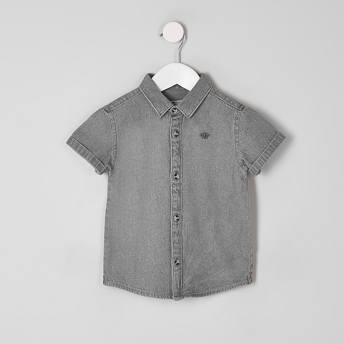 Mini boys grey wasp embroidered denim shirt