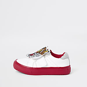 Mini boys white tiger velcro sneakers