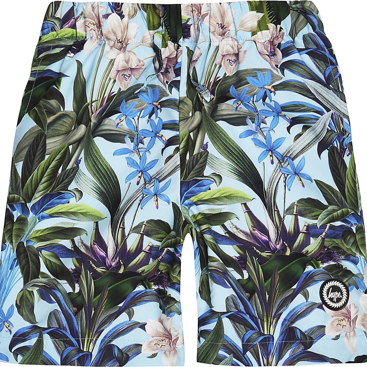 Boys Hype blue tropical swim shorts