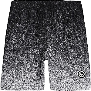 Boys black Hype speckle fade swim trunks