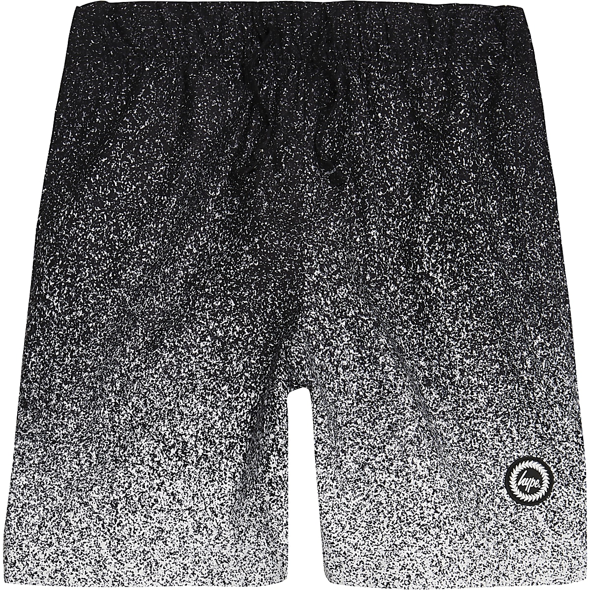 Boys black Hype speckle fade swim shorts