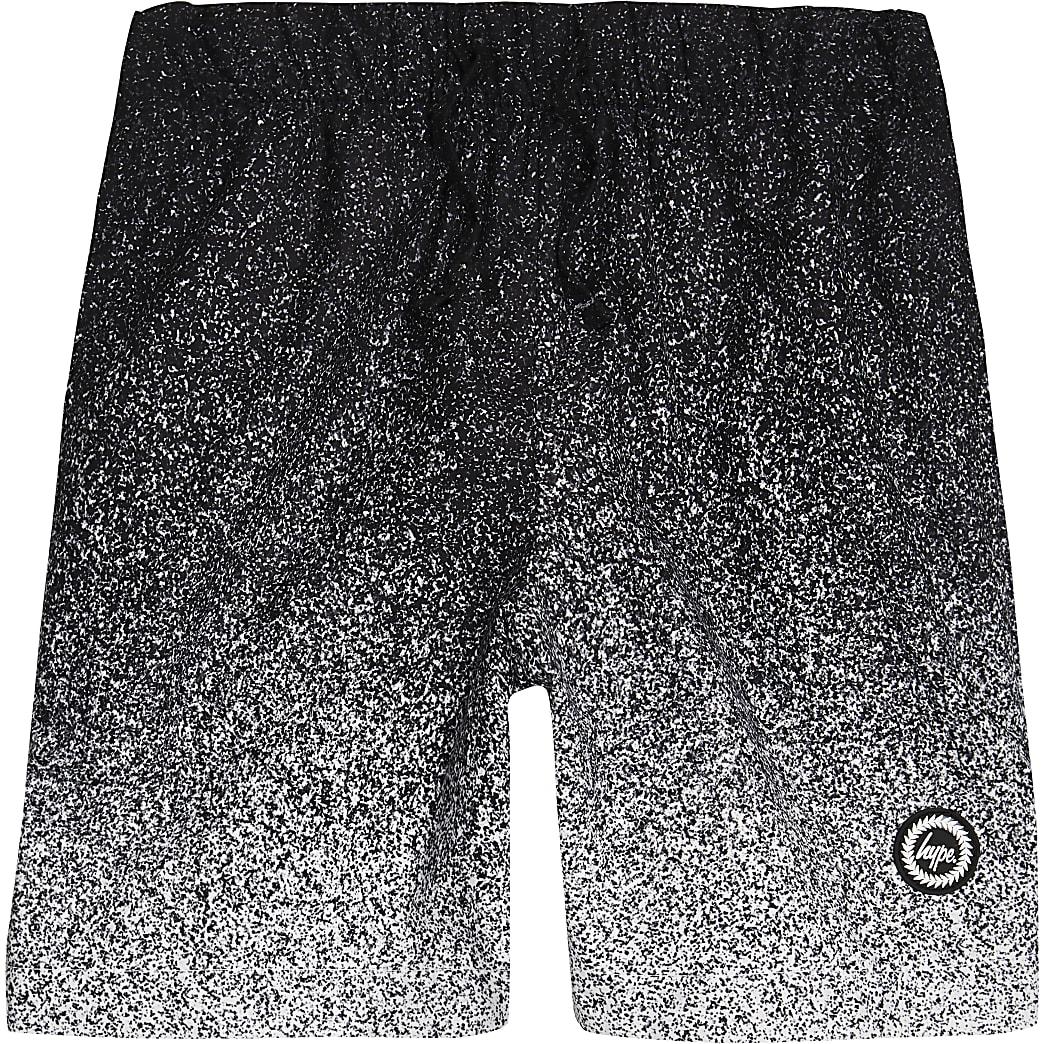 Boys black Hype speckle fade swim shorts