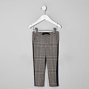 Mini - Bruine geruite broek met bies opzij voor jongens