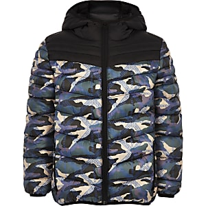 Boys RI Active black camo puffer jacket