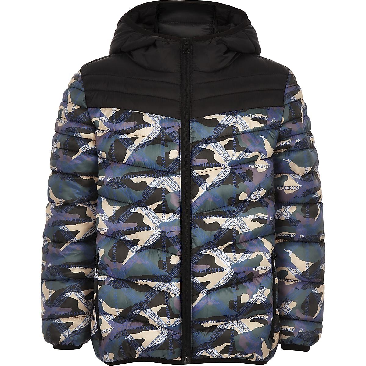 Boys RI Active black camo puffer jacket