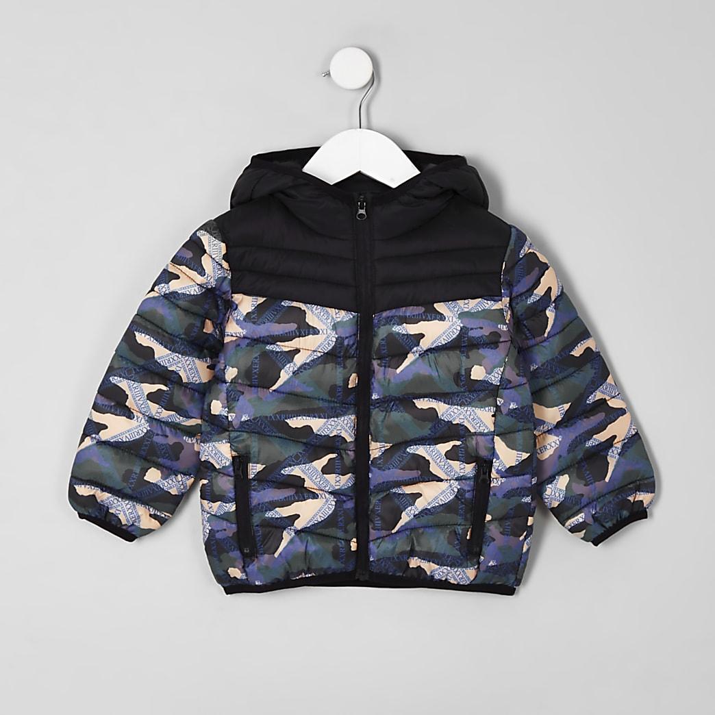 Doudoune motif camouflage noire mini garçon