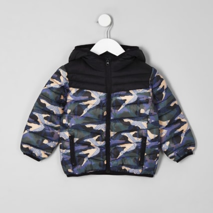 Mini boys black camo puffer jacket