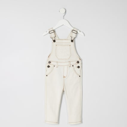 Mini boys cream dungarees