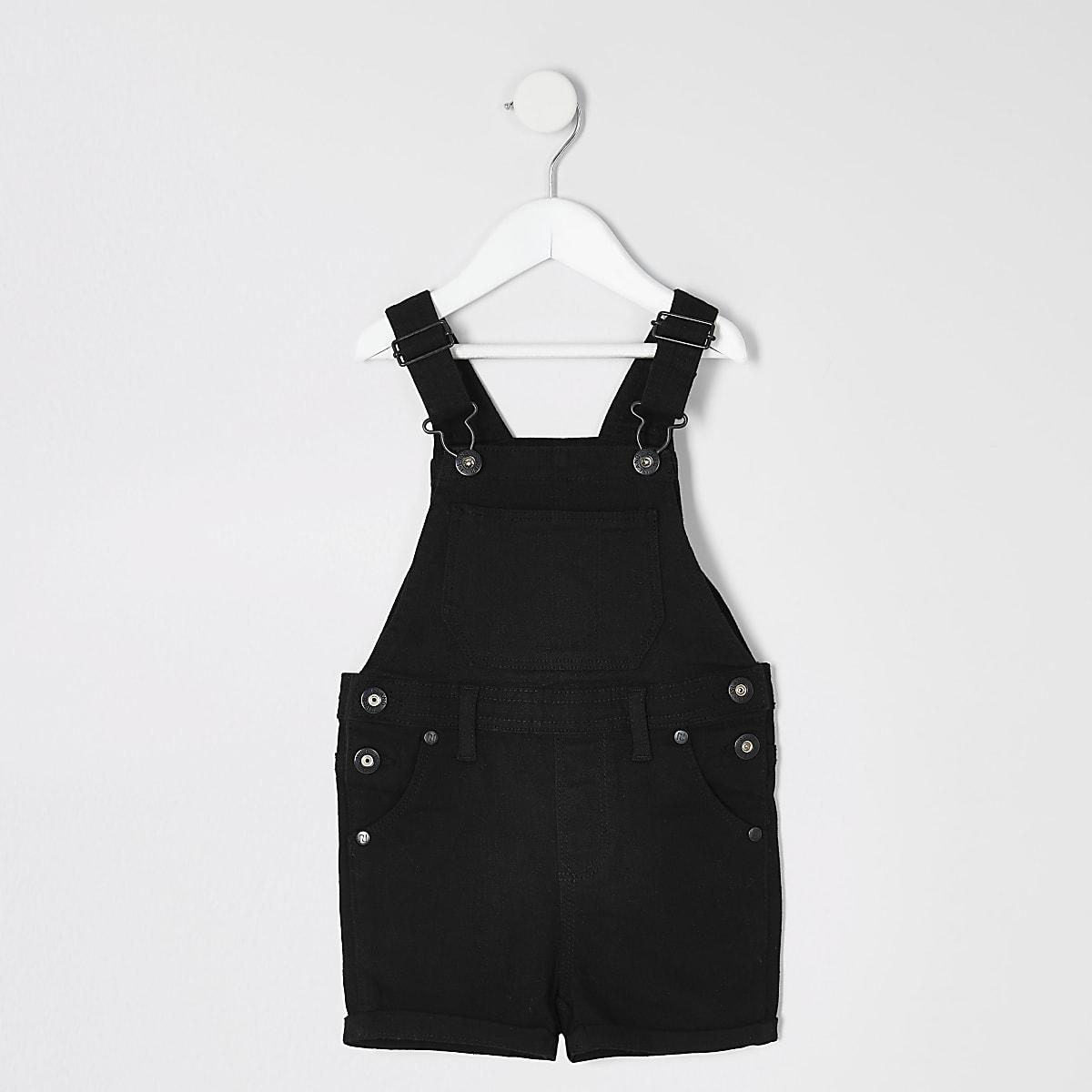 Mini kids black denim short overalls