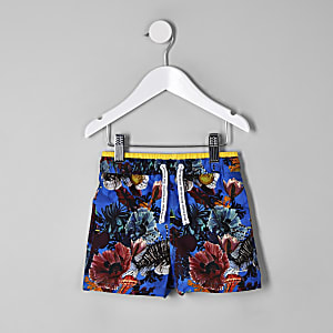 Mini boys blue ocean swim trunks