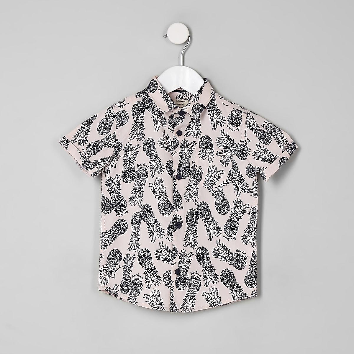 Mini boys pink pineapple short sleeve shirt