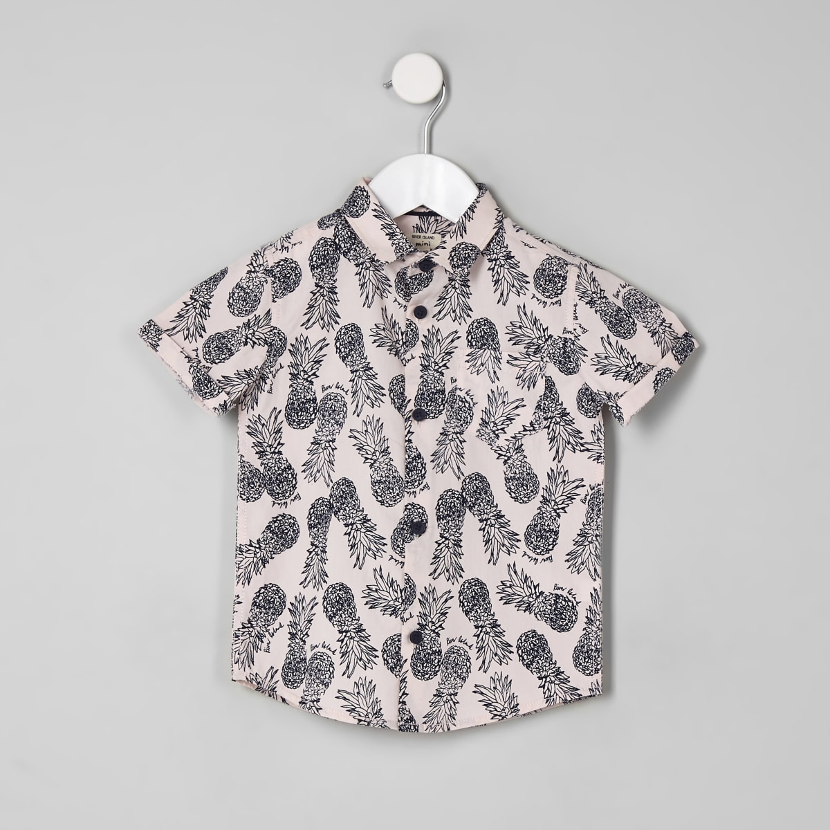 Mini boys pink pineapple short sleeve shirt