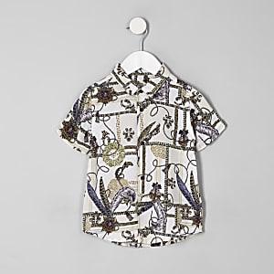 Mini - Wit overhemd met barokprint en knopen voor jongens