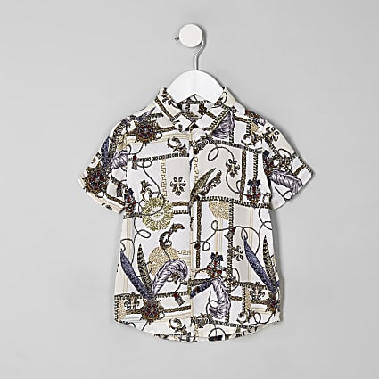 Mini boys white baroque button-down shirt