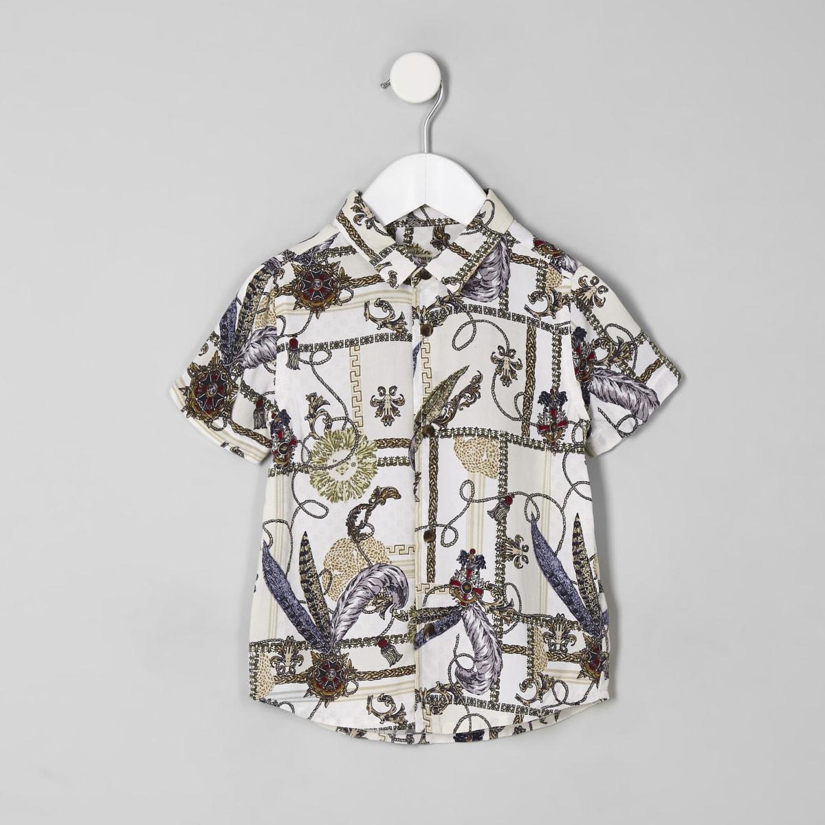 Mini boys white baroque button-down shirt