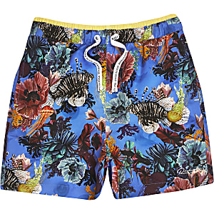 Boys blue ocean print runner swim shorts