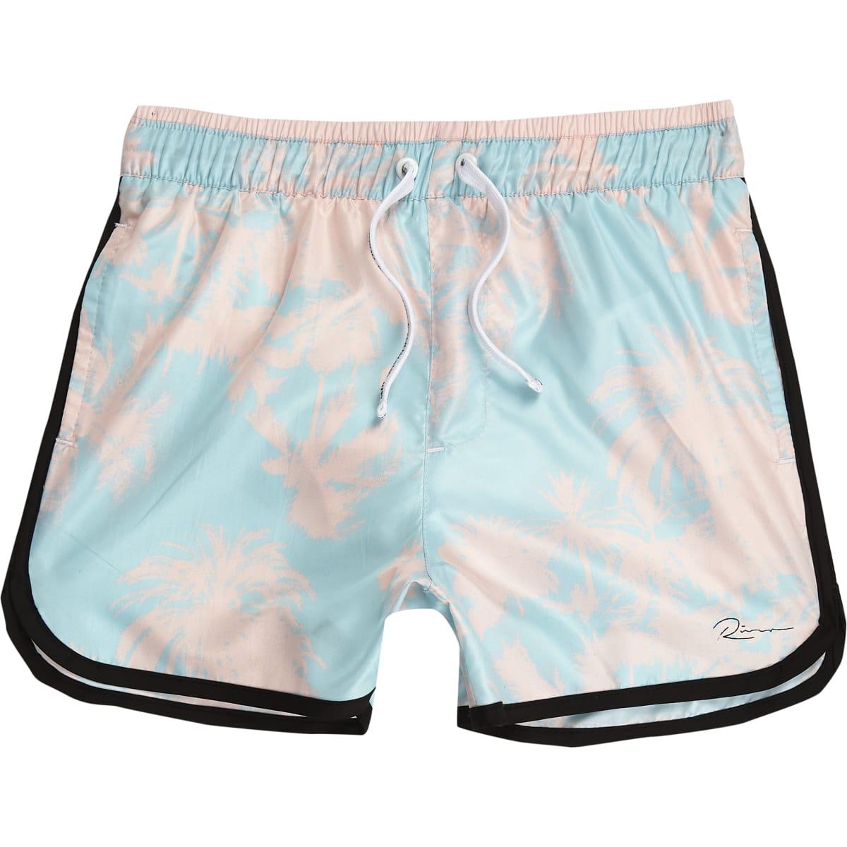 Boys blue palm print swim shorts