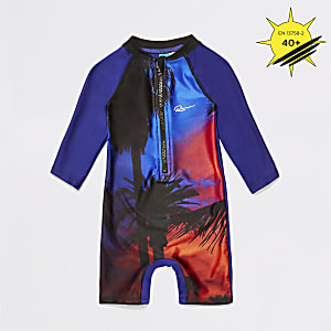 Mini boys blue palm print swimsuit