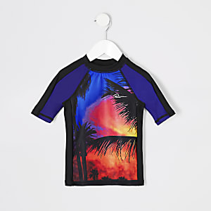 T-shirt de surf à imprimé palmier bleu pour mini garçon