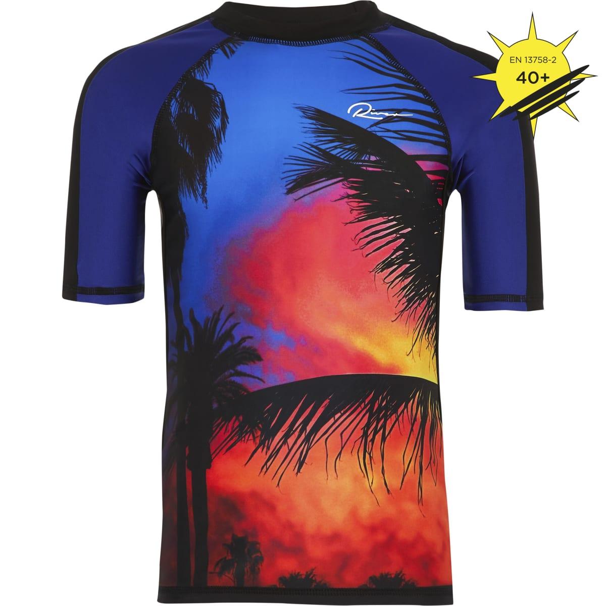 Boys black palm print swim top