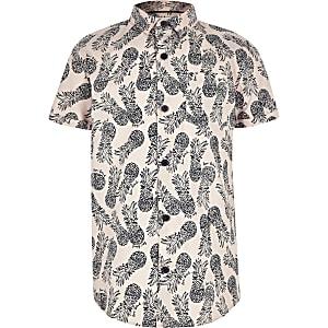 Chemise motif ananas rose à manches courtes pour garçon