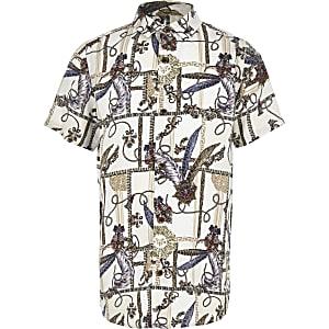 Wit overhemd met barokprint en knopen voor jongens