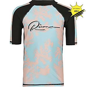 Boys turquoise palm print swim top