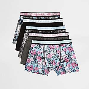 Boys grey floral boxers multipack