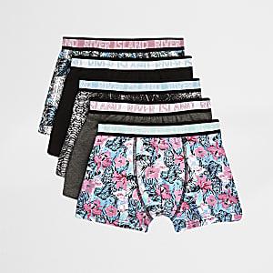 Lot de boxers à fleurs gris pour garçon