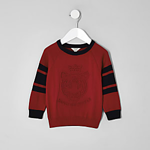 Mini boys red 'King of style' knit jumper