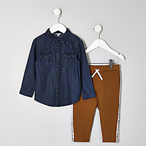 Mini boys denim shirt and jogger outfit