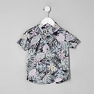 Chemise manches courtes à fleurs rose mini garçon
