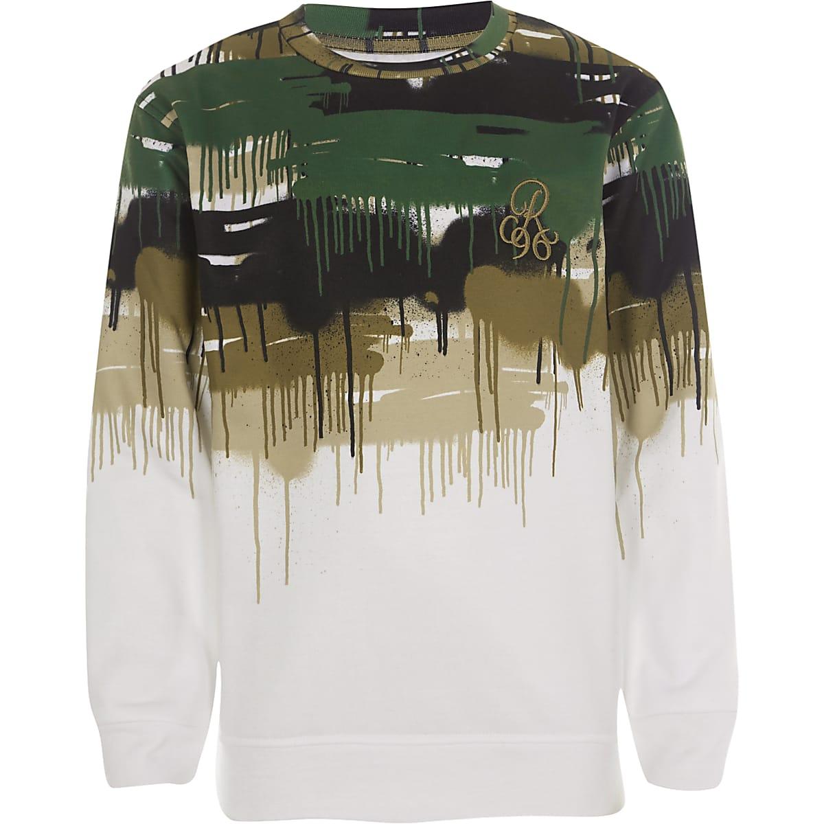 Boys white 'R96' camo sweatshirt