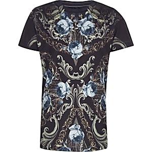 Boys navy floral print crew neck T-shirt