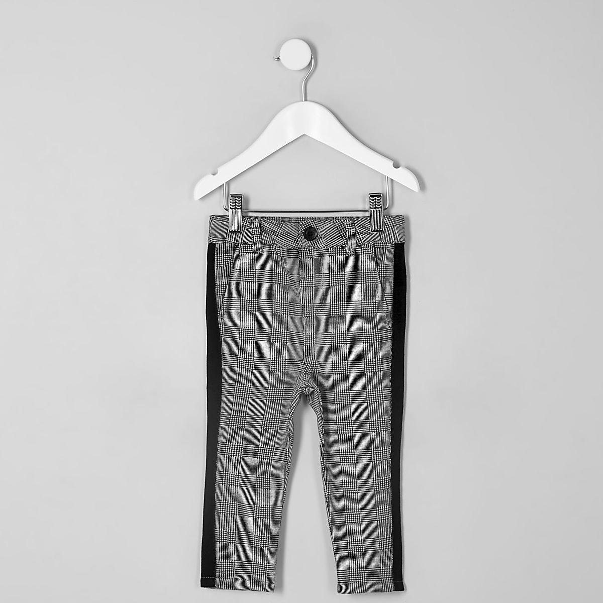 Mini boys grey check tape pants