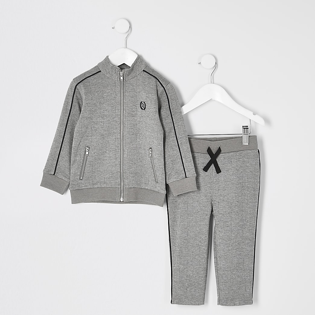 Mini - Outift met grijze geruite joggingbroekoutfit voor jongens