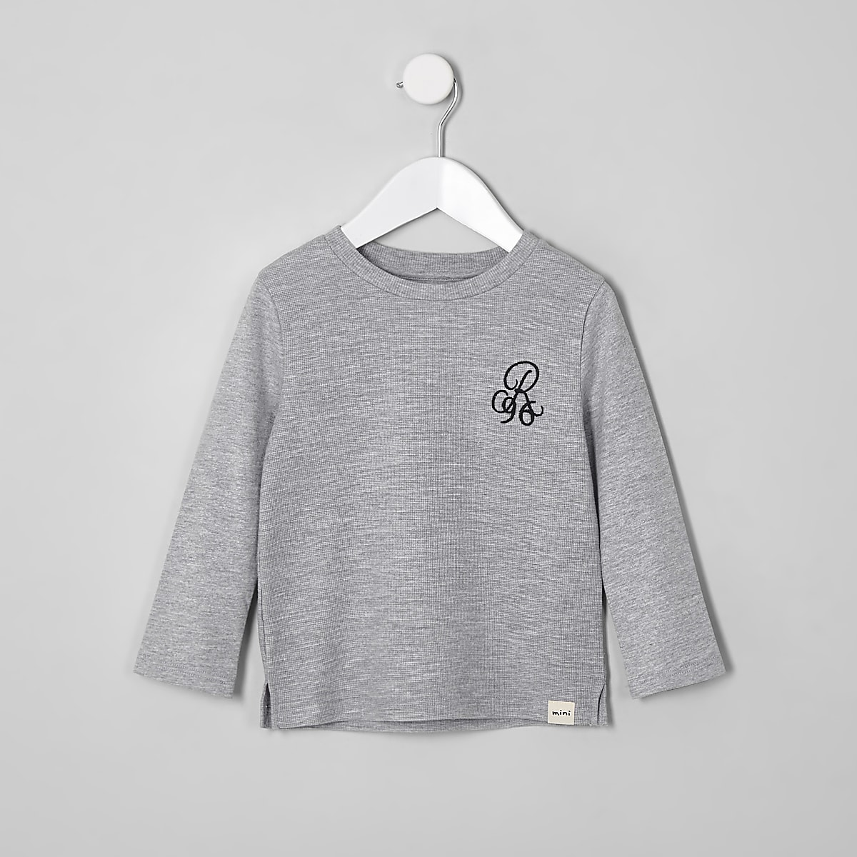 Mini boys grey waffle long sleeve top